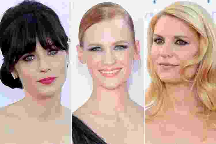 Para cruzarem o tapete vermelho do Emmy Awards, a principal premiação da TV norte-americana, as atrizes apostaram em visuais com poucos toques de cor na maquiagem e penteados despojados - muitas, como Claire Danes, foram com os fios soltos bem escovados; veja a seguir os detalhes de suas belezas - Getty Images