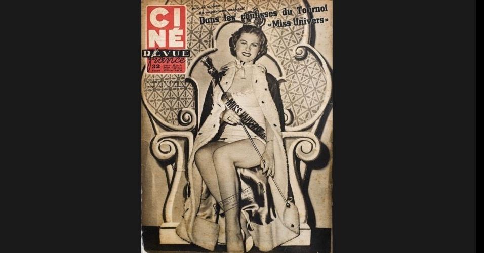 """1952 - A revista """"Ciné Revue France"""" traz na capa a primeira Miss Universo, a finlandesa Armi Helena Kuusela"""