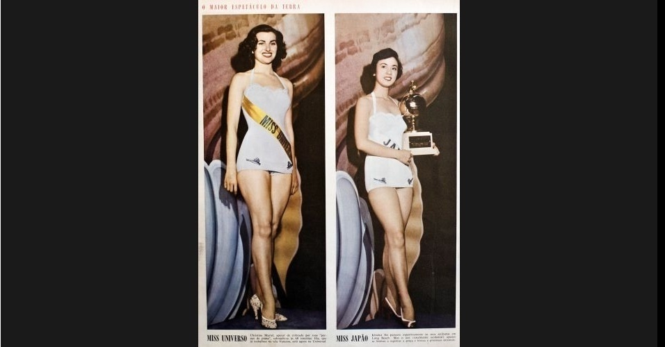 1953 - À direita, a Miss França, Christiane Martel, eleita Miss Universo 1953; à esquerda, a Miss Japão, Kinuko Itu, que ficou em terceiro lugar