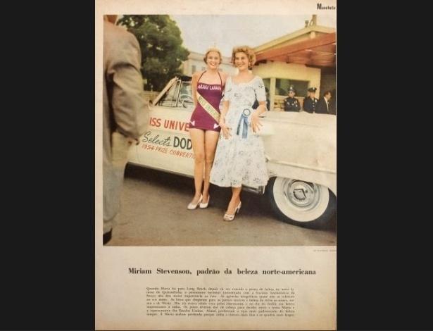 """1954 - Concorrência charmosa: """"Manchete"""" traz a Miss Brasil, Marta Rocha (esq.), e a Miss Estados Unidos, Miriam Stevenson. A brasileira ficou com o segundo lugar, enquanto a americana foi coroada Miss Universo 1953"""