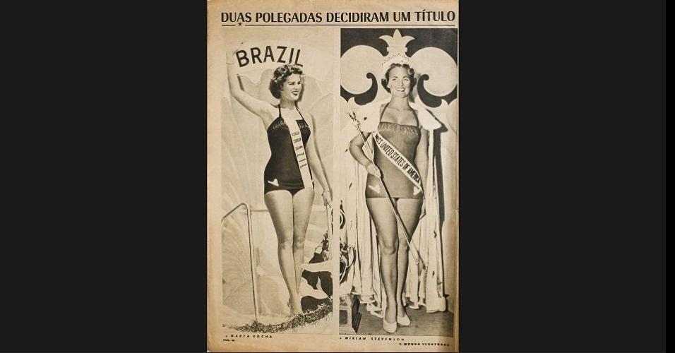 """1954 A revista """"O Mundo Ilustrado"""" traz à esquerda a Miss Brasil, Martha Rocha, que ficou em segundo lugar na competição mundial, e à direita a Miss Estados Unidos, Miriam Stevenson, eleita Miss Universo 1953"""