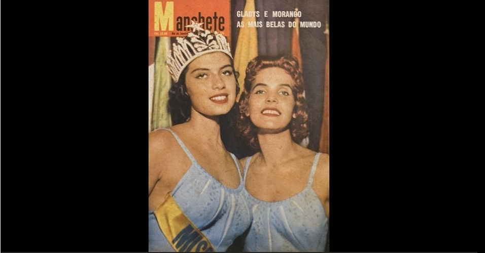 """1957 - A """"Manchete"""" estampa na capa a Miss Peru, Gladys Zender, coroada Miss Universo 1957, e a Miss Brasil, Teresinha Morango, que ficou com a segunda colocação"""