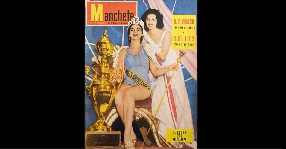 "1958 - A revista ""Manchete"" traz na capa a Miss Universo 1957, Gladys Zender, coroando a Miss Universo 1958, a colombiana Luz Marina Zuluaga"