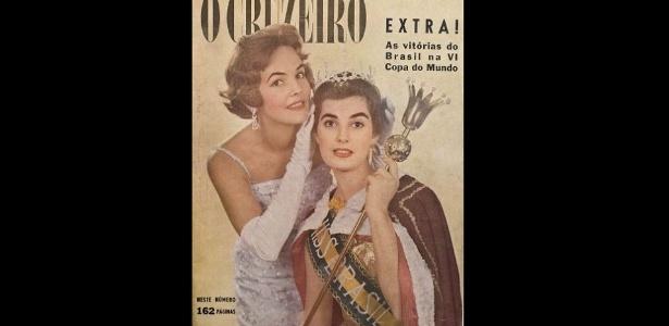 """1958 - A revista """"O Cruzeiro"""" traz na capa, em tempos de Copa do Mundo, a Miss Brasil 1957 - Paulo Tadeu/Arquivo pessoal"""