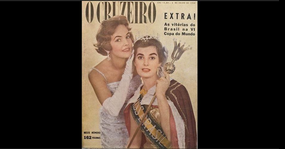 """1958 - A revista """"O Cruzeiro"""" traz na capa, em tempos de Copa do Mundo, a Miss Brasil 1957, Terezinha Morango, coroando a Miss Brasil 1958, Adalgisa Colombo. No Miss Universo, Adalgisa ficou com a segunda colocação; na Copa do Mundo, a seleção brasileira conquistaria seu primeiro título"""