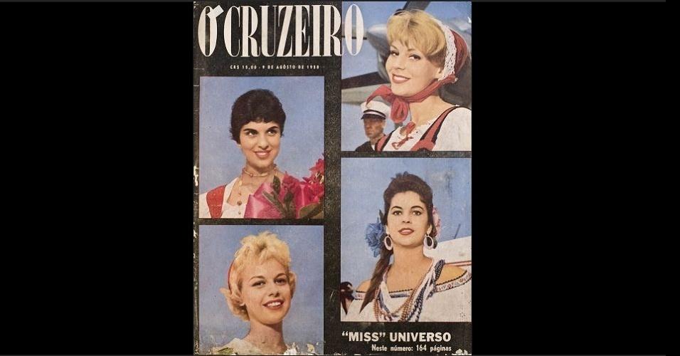 """1958 - Montagem na capa da """"O Cruzeiro"""" aborda o concurso mundial de beleza"""