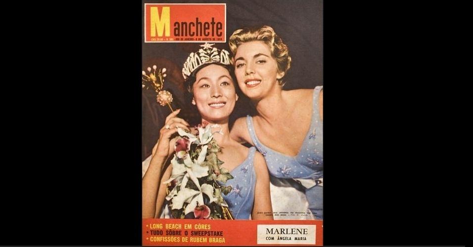 """1959 - A revista """"Manchete"""" traz na capa a Miss Japão, Akiko Kojima, coroada Miss Universo 1959, e a Miss Brasil, Vera Ribeiro, que ficou entre as cinco finalistas"""