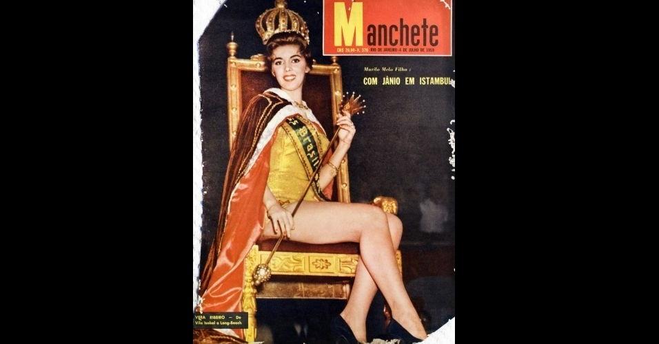 "1959 - Enquanto Jânio Quadros estava na Turquia, a Miss Brasil, Vera Ribeiro, estava na capa da ""Manchete"""