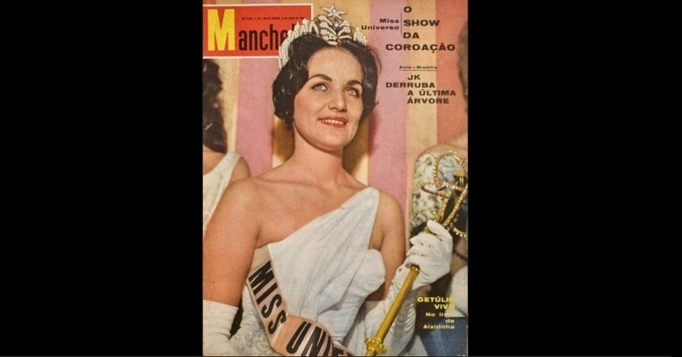 "1960 - A norte-americana Linda Jeanne Bement, Miss Universo 1960, faz jus ao nome na ""Manchete"""