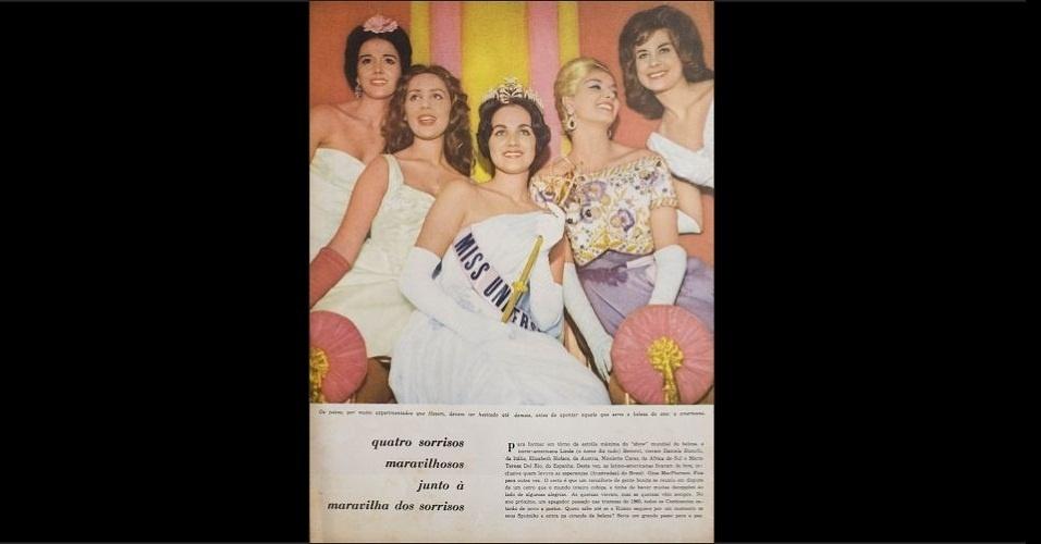 1960 - Revista traz foto de misses que participaram do Miss Universo 1960. No centro está a vencedora, Linda Jeanne Bement (Estados Unidos)