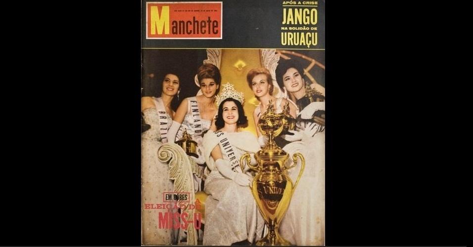 """1962 - No ano do bicampeonato brasileiro na Copa do Mundo, uma seleção e tanto na """"Manchete"""": traza partir da esquerda, a Miss Brasil Maria Olívia Rebouças (5º lugar); Miss Finlândia Anja Aulikki Järvinen (3º lugar); Miss Argentina Norma Nolan (1º lugar); Miss Islândia Anna Geirsdóttir (2º lugar); e a Miss Taiwan Helen Liu Shiu-Man (4º lugar)"""