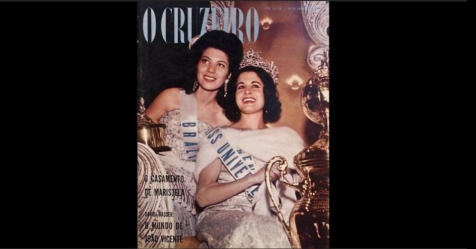 """1962 - Rivalidade além do futebol: """"O Cruzeiro"""" traz a Miss Brasil, Maria Olívia Rebouças, que conquistou o quinto lugar no Miss Universo 1962, e a Miss Argentina, Norma Nolan, vencedora da competição mundial"""