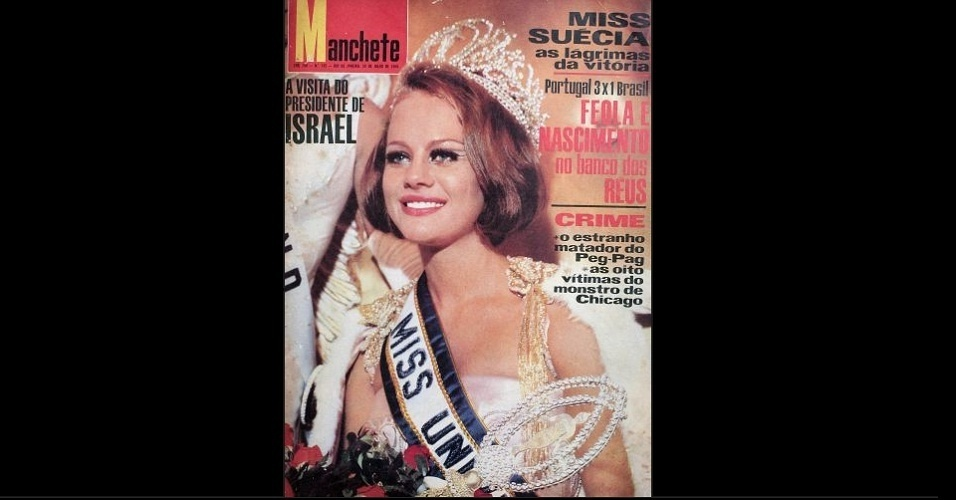 "1966 - A revista ""Manchete"" traz na capa a Miss Suécia, Margareta Arvidsson, Miss Universo 1966"