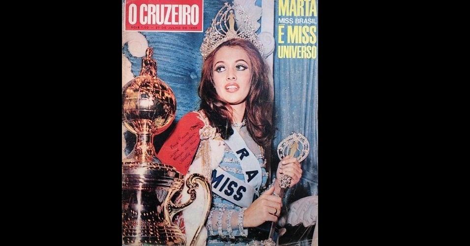 """1968 - Além da """"Fatos e Fotos"""", a """"O Cruzeiro"""" também abrilhantou sua capa com a beleza da brasileira Martha Vasconcellos, Miss Universo 1968"""