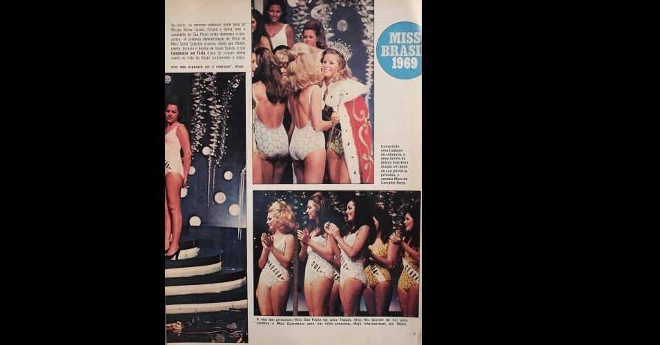 1969 - Revista traz fotos do concurso nacional, Miss Brasil 1969, vencido pela catarinense Vera Fischer