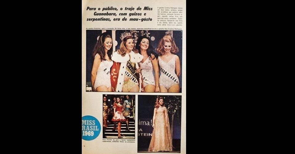 1969 - Revista traz fotos dos variados trajes da Miss Santa Catarina, Vera Fischer, eleita Miss Brasil 1969. A catarinense ficou entre as semifinalistas no Miss Universo
