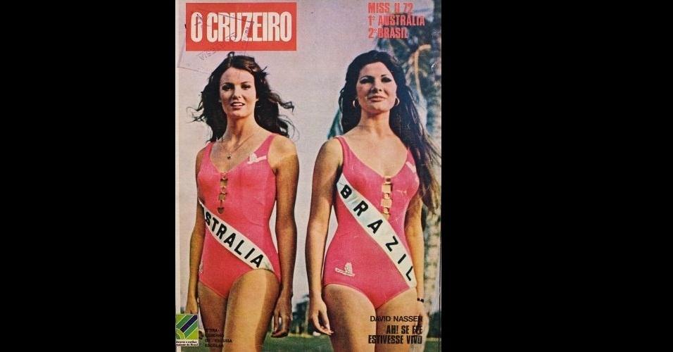 """1972 - Assim como a """"Manchete"""", a """"O Cruzeiro"""" colocou na capa as duas primeiras colocadas do Miss Universo: a australiana Kerry Anne Wells (esq., vencedora) e a brasileira Rejane Vieira Costa (vice)"""