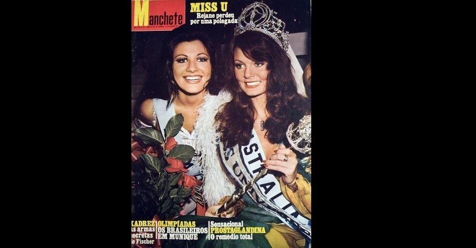"""1972 - """"Manchete"""" traz na capa a australiana Kerry Anne Wells (esq.), que ganhou o Miss Universo, e a brasileira Rejane Vieira Costa, que ficou em segundo lugar"""