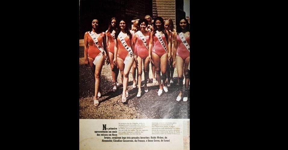 1972 - Revista retrata a primeira aparição das candidatas ao Miss Universo 1972 em trajes de banho