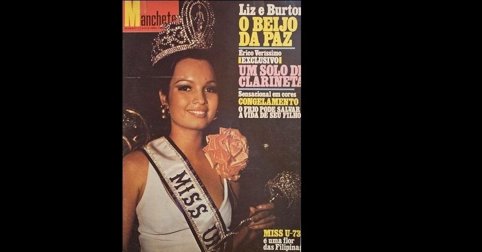 "1973 - ""Manchete"" traz na capa a filipina Margarita Moran, Miss Universo 1973"