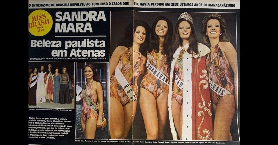 1973 - Revista mostra a paulista Sandra Mara Ferreira, eleita Miss Brasil de 1973. No Miss Universo, Sandra ficou entre as 12 semifinalistas