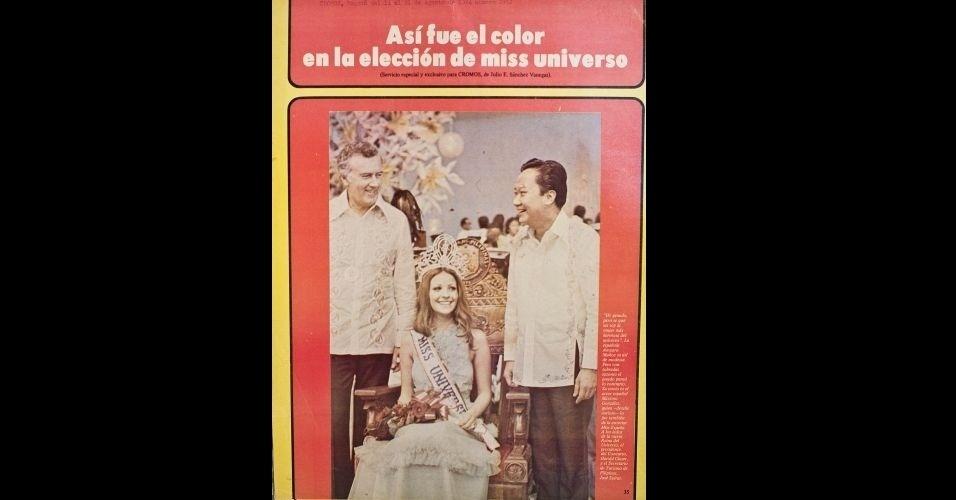 """1974 - Mais mídia internacional: """"Cromos"""" traz a espanhola Amparo Muñoz, Miss Universo 1974"""