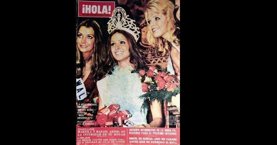 """1974 - Mídia internacional: """"¡Hola!"""" traz a espanhola Amparo Muñoz, momentos depois de ser eleita Miss Universo 1974"""