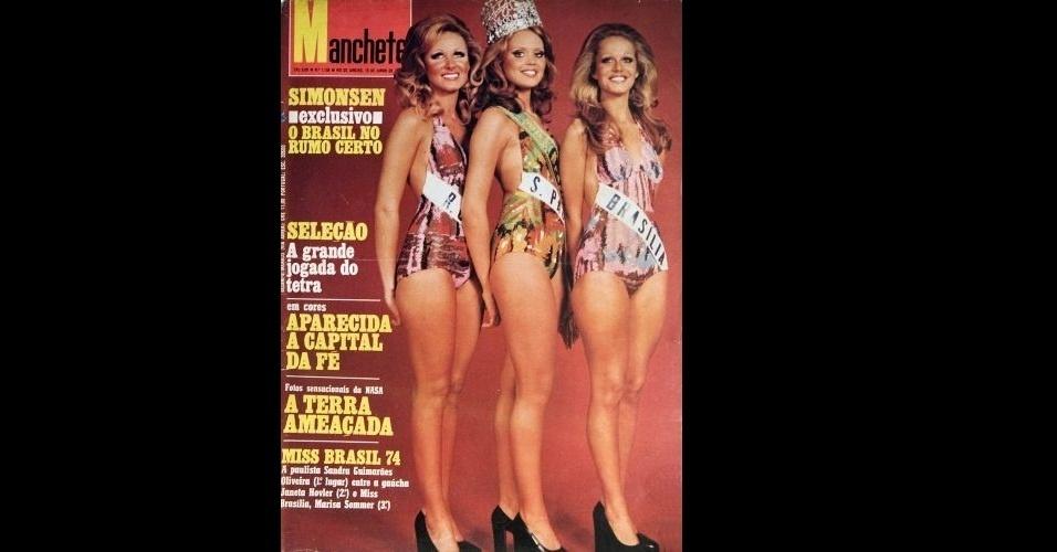 """1974 - Sandra Guimarães Oliveira, Miss Brasil 1974, a gaúcha Janeta Hovler (2º lugar, à esquerda) e a brasiliense Marisa Sommer (3º lugar, direita) na """"Manchete"""""""