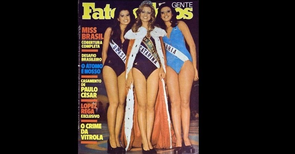 """1975 - A revista """"Fatos e Fotos"""" traz em sua capa a Miss Santa Catarina, Ingrid Budag, eleita Miss Brasil em 1975, entre a Miss Brasília, Lisane Guimarães (2º lugar), e a Miss Bahia, Zaída Souza da Costa (3º lugar)"""