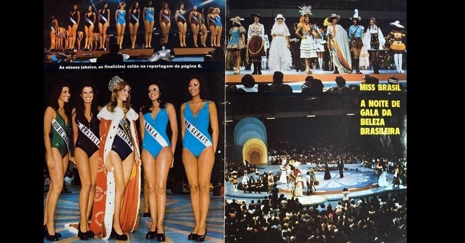 1975 - Revista traz imagens da 22ª edição do concurso Miss Brasil, realizado no ginásio Presidente Médice, em Brasília