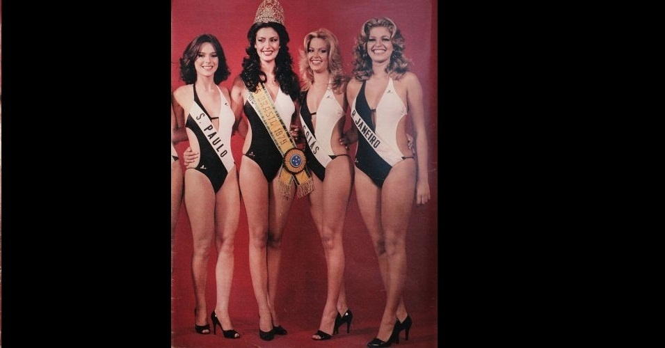 1979 - Maiôs bicolores! Revista traz misses abraçando a potiguar Marta da Costa, Miss Brasil 1979