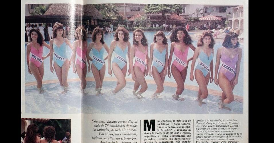 1986 - Misses sulamericanas posam na piscina; a brasileira Deise de Souza ficou entre as dez semifinalistas