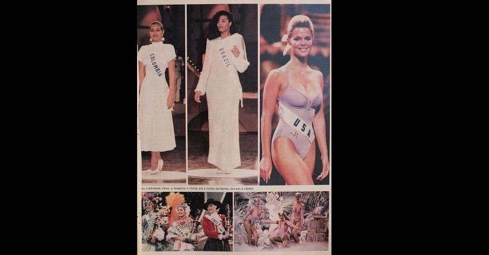 1986 - Revista traz fotos do Miss Universo; a brasileira Deise de Souza ficou entre as dez semifinalistas