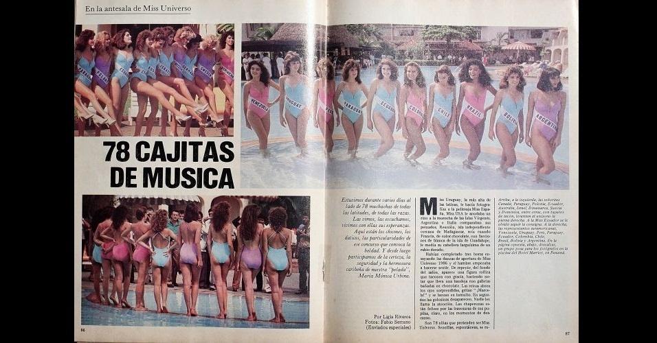 1986 - Revista traz matéria e fotos de misses na piscina, no concurso mundial Miss Universo. A Miss Brasil, Deise de Souza, ficou entre as 10 semifinalistas
