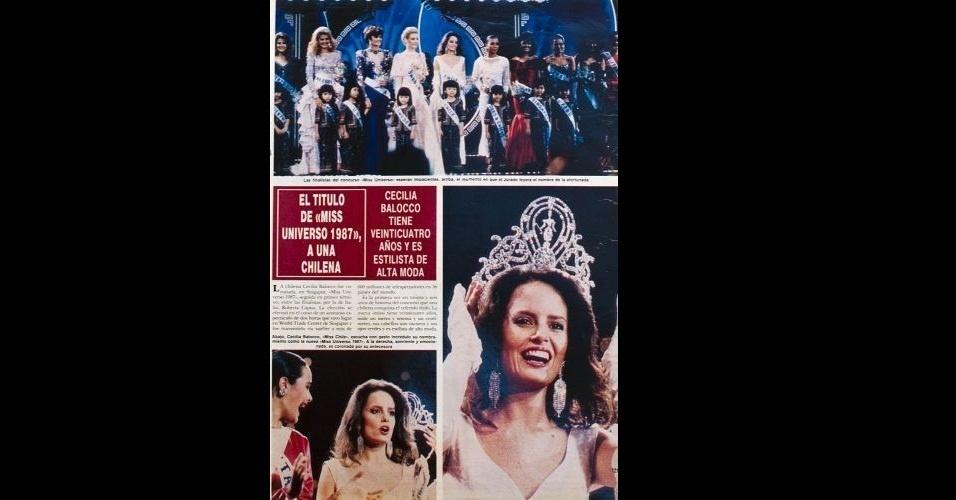 1987 - Revista traz fotos da chilena Cecilia Bolocco, eleita Miss Universo 1987; décadas mais tarde, Cecilia Bolocco se casaria com o presidente argentino Carlos Menem