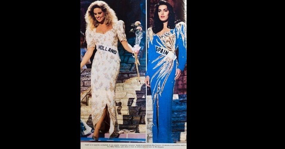 1989 - À direita, a holandesa Angela Visser, Miss Universo 1989; à esquerda a Miss Espanha, Eva Pedraza