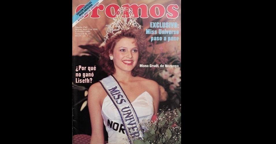 """1990 - """"Cromos"""" traz na capa a norueguesa Mona Grudt, Miss Universo 1990"""