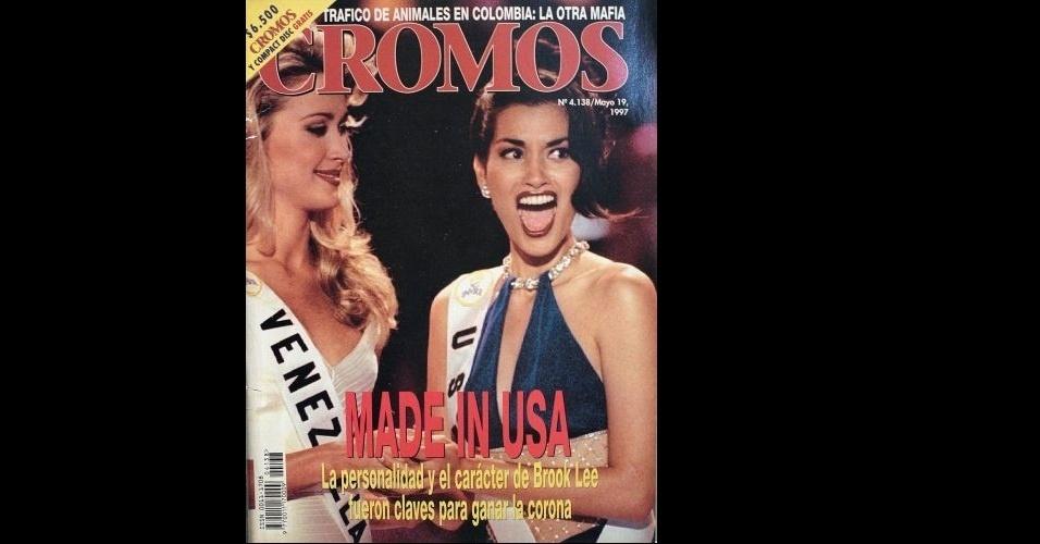 """1997 - A norte-americana Brook Lee, Miss Universo 1997, aparece na capa da """"Cromos"""""""