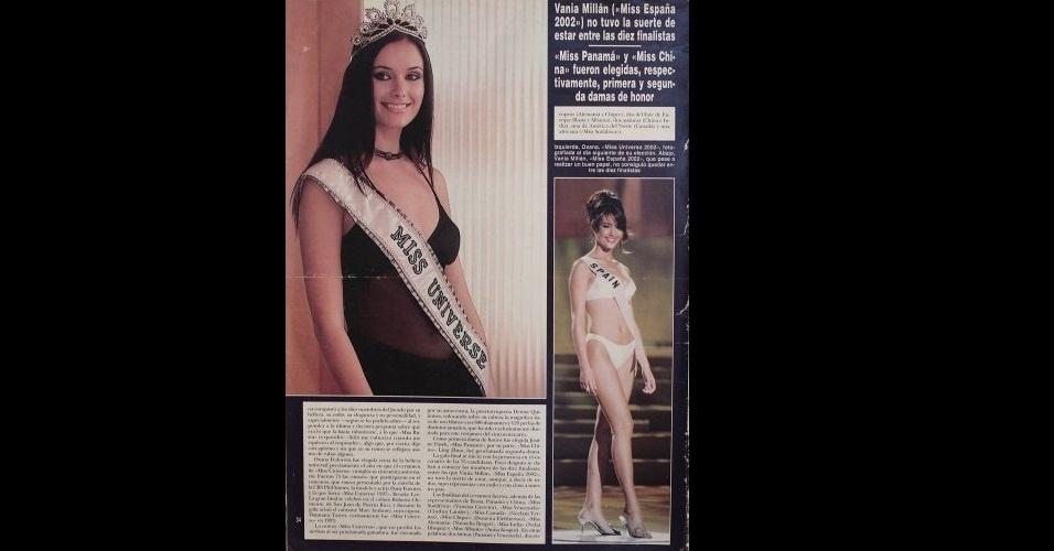 2002 - À esquerda, em destaque, está a russa Oxana Fedorova, Miss Universo 2002; à direita, a Miss espanhola Vania Millan