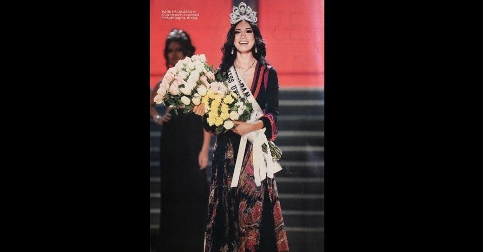 2007 - Revista traz matéria sobre a japonesa Riyo Mori, Miss Universo 2007; a mineira Natália Guimarães ficou em segundo lugar