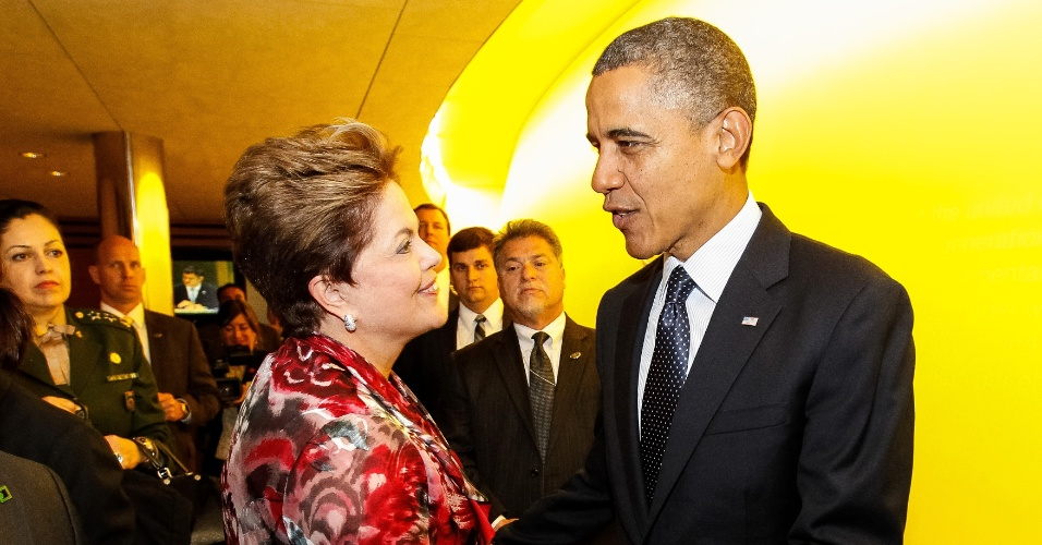 25.set.2012 - A presidente Dilma Rousseff se encontra com o presidente dos Estados Unidos, Barack Obama, após discursos de ambos na 67ª Assembleia-Geral das Nações Unidas