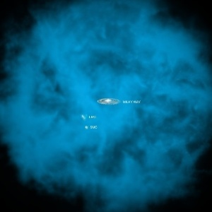 Concepção artística mostra a Via Láctea cercada por gás - o raio tem 300 mil anos-luz, mas astrônomos não descartam que o halo pode ser maior