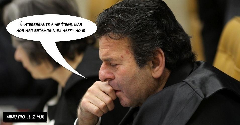 """26.set.2012 - """"É interessante a hipótese, mas nós não estamos num happy hour"""", disse o ministro Luiz Fux sobre a fala do ministro Lewandowski citando um exemplo de punição referente à Lei Seca"""