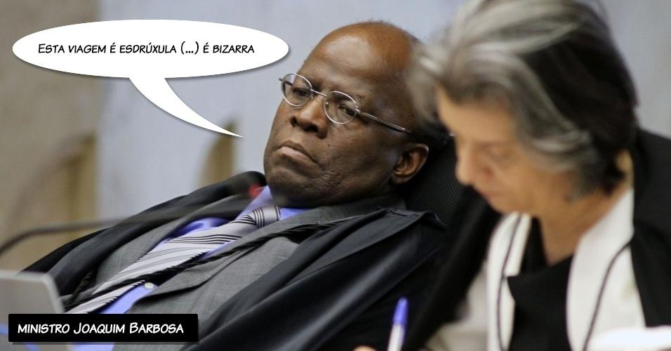 """26.set.2012 - """"Esta viagem é esdrúxula (...) é bizarra"""", alegou o ministro Joaquim Barbosa ao criticar voto do ministro Ricardo Lewandowski"""