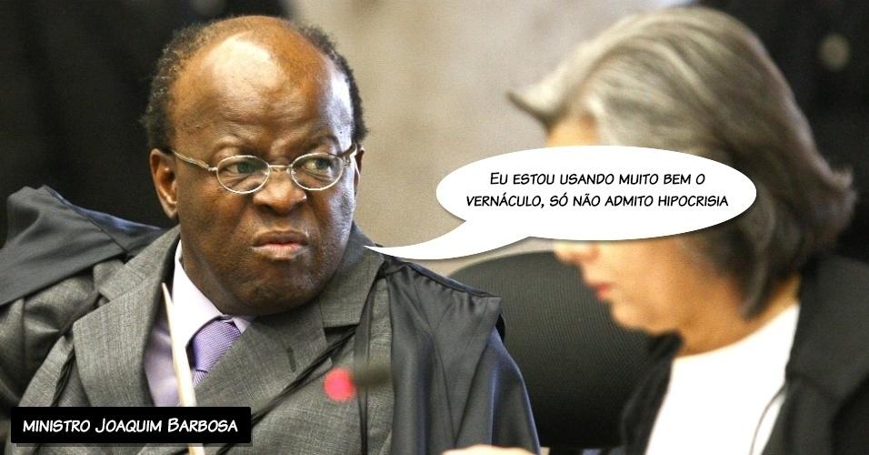 """26.set.2012 - """"Eu estou usando muito bem o vernáculo, só não admito hipocrisia"""", afirmou o ministro Joaquim Barbosa em resposta ao colega Marco Aurélio, que pediu que ele """"policiasse"""" a linguagem na Corte"""