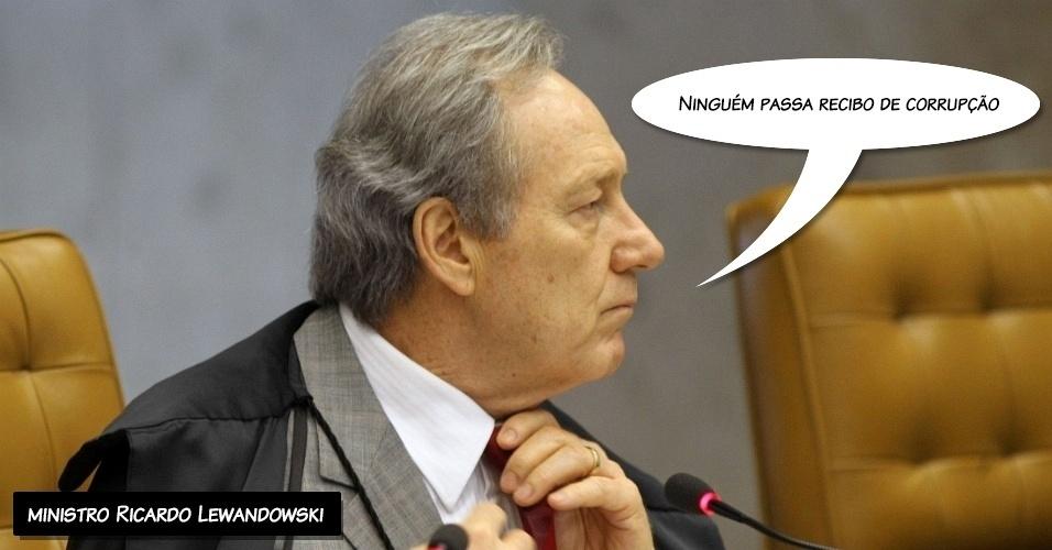 """26.set.2012 - """"Ninguém passa recibo de corrupção"""", afirmou o ministro Ricardo Lewandowski ao proferir seu voto sobre o ex-deputado Roberto Jefferson (PTB-RJ)"""