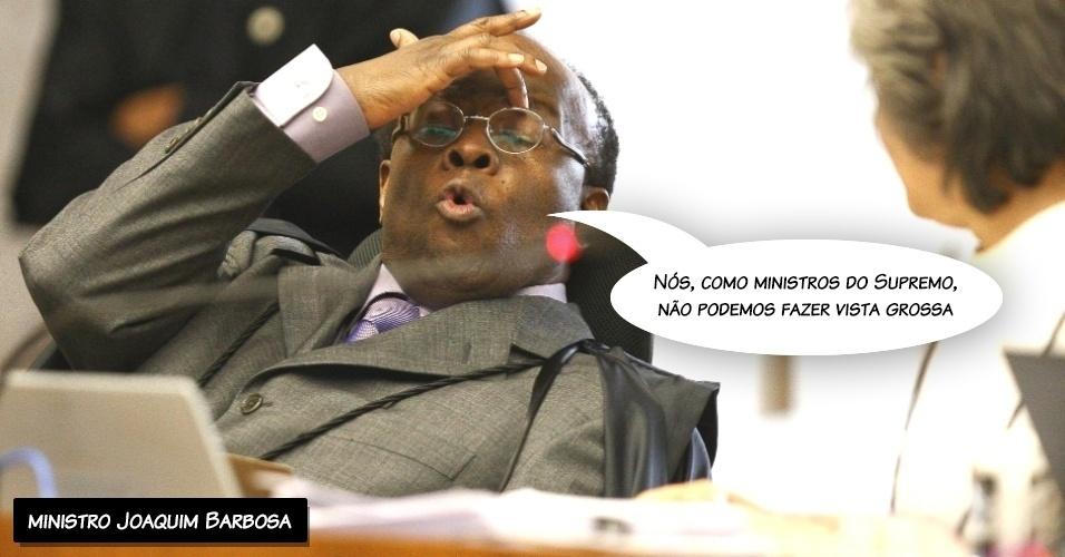 """26.set.2012 - """"Nós, como ministros do Supremo, não podemos fazer vista grossa"""", disse o ministro Joaquim Barbosa ao criticar o colega Ricardo Lewandowski"""