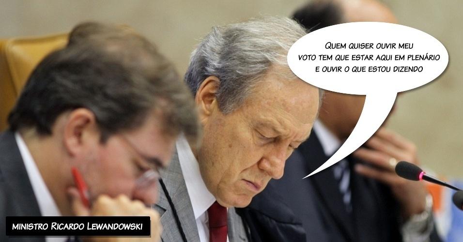 """26.set.2012 - """"Quem quiser ouvir meu voto tem que estar aqui em plenário e ouvir o que estou dizendo"""", disse o ministro Ricardo Lewandowski em resposta ao ministro Joaquim Barbosa"""