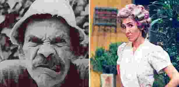 """Ramón Valdés (à esquerda) e Florinda Meza, do elenco de """"Chaves"""" - Montagem/Divulgação"""