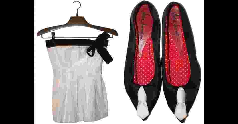 Top da estilista Juliana Jabour (R$ 70) e sapatilha da designer Meline Moumdjian para o estilista Ronaldo Fraga (R$ 90) são alguns dos semi-novos comercializados no Maria Brechó. Produtos à venda pesquisados em setembro de 2012 e sujeitos a indisponibilidade - Divulgação